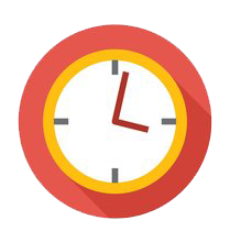 Red and yellow cartoon clock