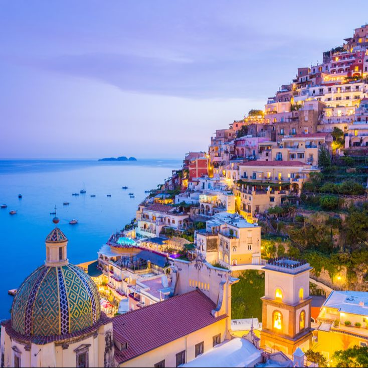 amalfi coast lit up at night